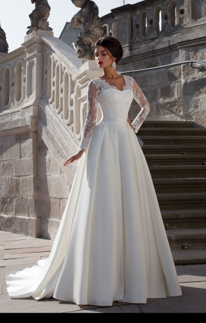 Robe de mariée dentelle | Robe de mariage élégante manches longues