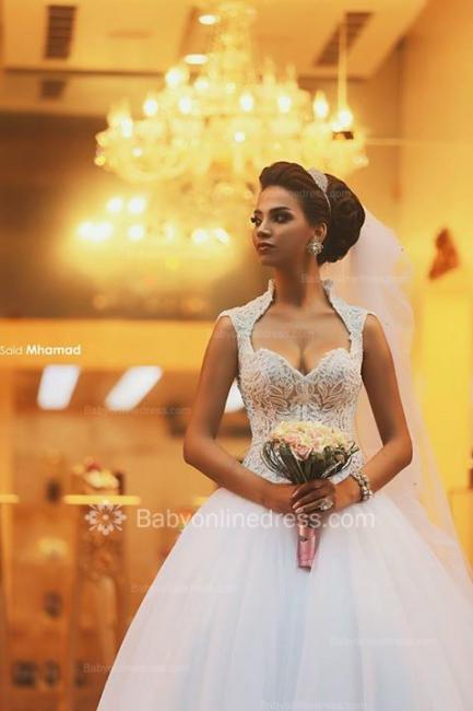Forme Princesse Traîne moyenne Col en cœur Tulle 2020 Robes de mariée avec Dentelle
