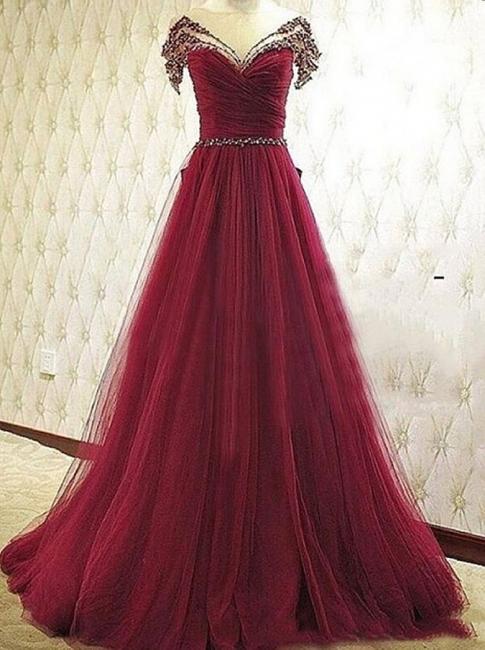Forme musique robe de soirée élégante décolleté avec cristal longueur sol