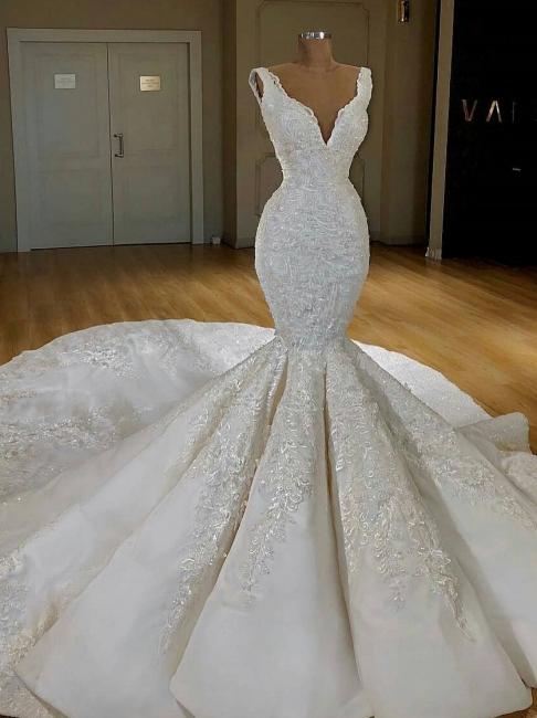 Robe de mariée sirène avec appliques | Robe de mariage trompette col en V