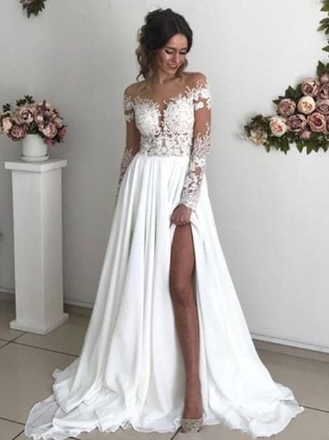 Robe de mariée princesse longue avec dentelle épaules nues | Robe de mariage longue