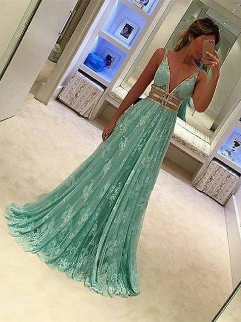 Forme princess robe de soirée col en V dentlle et tulle couleurs au choix longueur sol