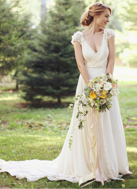 Forme Princesse Traîne moyenne Col en V Mousseline polyester Nouveau Robes de mariée A-ligne avec Fleurs