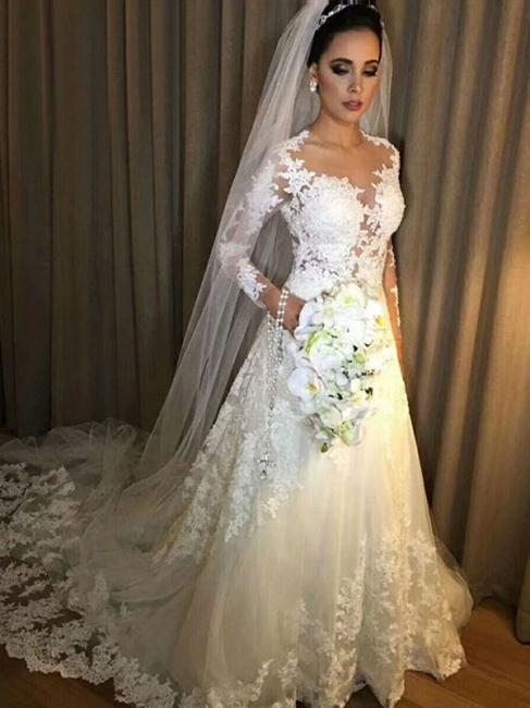 Robe de mariée A-ligne manches longues | Robe de mariage ligne A dentelle classique