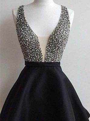 Forme princesse robe de soirée courte col en V couleurs au choix