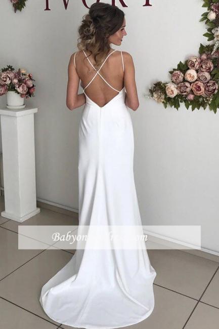 robe de soirée longue dos nu fendue avec bretelles