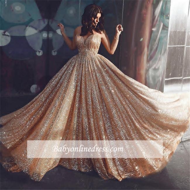 Robe de bal princesse pailletée brillante   Robe de soirée princesse sans bretelles