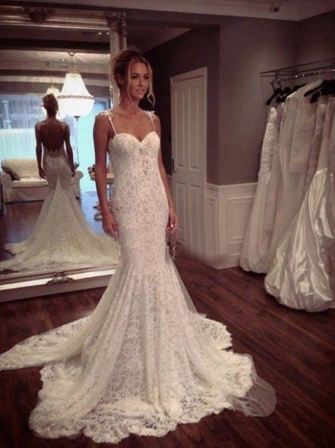 Vestido de Novia dentelle romantique sirène Robes de mariée bretelles spaghetti