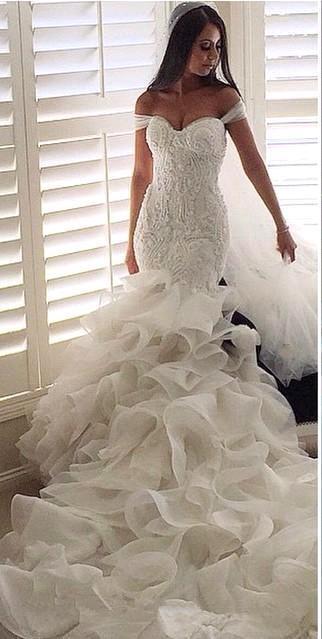 Forme Sirène/Trompette Traîne mi-longue Col en cœur Robes de mariée 2021 avec Cristal