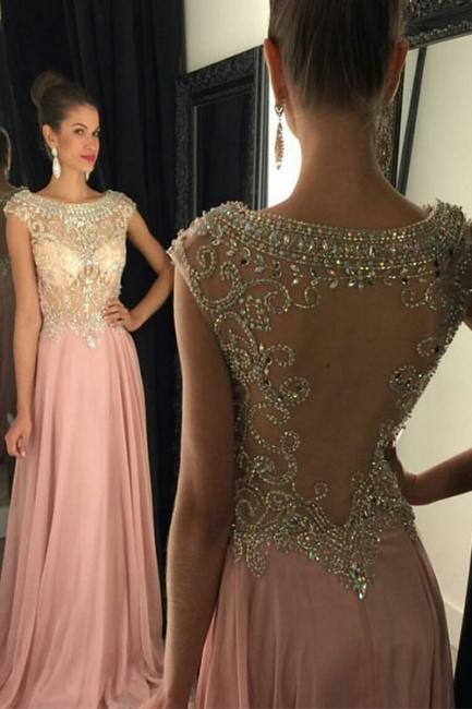 Forme Princesse Col ras du cou Mousseline polyester Longueur ras du sol Robes de soirée avec Cristal