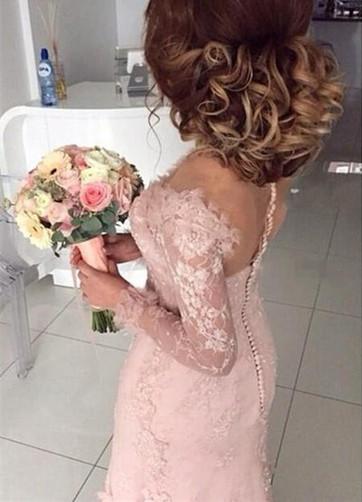 Robe demoiselle d'honneur avec manche longue en dentelle et tulle petit fleur longueur sol