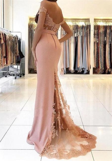Robe de soirée longue avec dentelle | robe de bal longue Rose