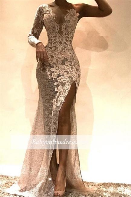Robe de soirée sirène épaules asymétriques | Robe de cérémonie trompette brillante