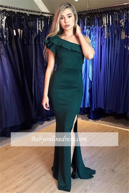 robe de soirée longue sirène épaule asymétrique avec fente