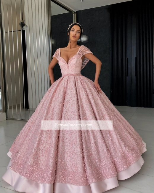 Robe de bal princesse chic avec perles | Robe de soirée princesse col en V