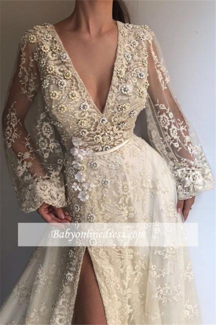 Robe de bal princesse dentelle col en V | Robe de soirée princesse manches bouffantes