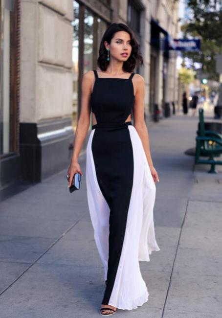 Forme A-Line Bretelles Longueur ras du sol Robes de soirée noir et blanche