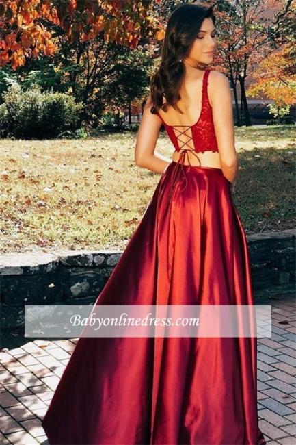 robe de soirée longue 2020 2 pièces en dentelles avec fendu