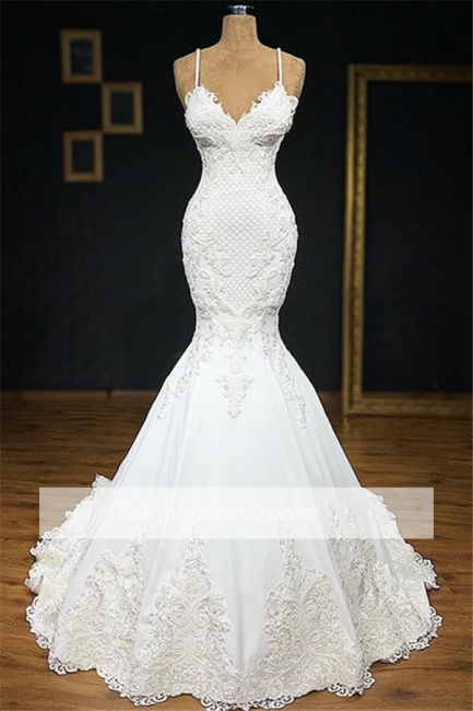 robe de mariée 2020 sirène bretelles spaghetti en dentelle