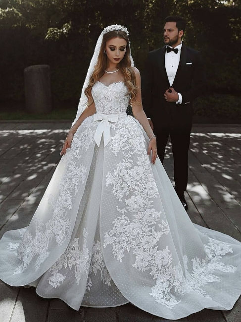 Robe de mariée princesse dentelle longue élégante avec nœud | robe de mariage élégante de luxe
