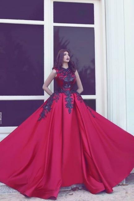 Robe de bal princesse avec appliques | Robe de soirée princesse sublime sans manches