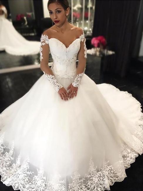 Robe de mariée princesse tulle épaules nues manches longues | Robe de mariage princesse longue élégante