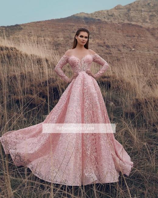 Robe de bal princesse dentelle délicate   Robe de soirée princesse manches longues