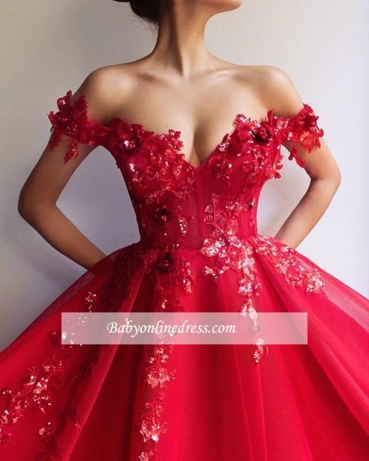Robe de bal princesse élégante avec appliques | Robe de soirée princesse longue chic épaules nues