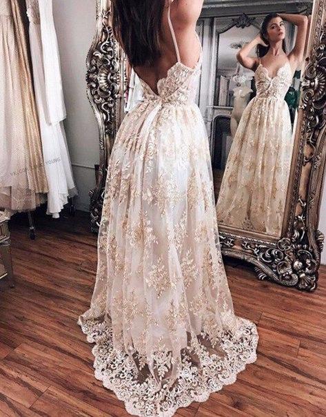 Forme Princesse Longueur ras du sol Bretelles spaghetti Dentelle robe de soirée