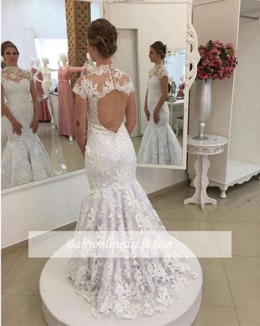 Robe de mariée sirène dentelle élégante   Robe de mariage trompette col montant