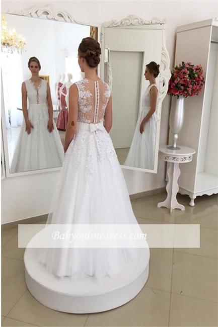 Robe de mariée princesse col en V | Robe de mariage princesse avec perles