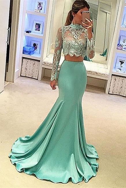 Forme sirène robe de fêté deux pièces manche longue en dentelle couleurs au choix