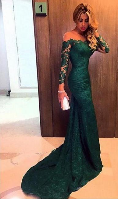Elegante robe de soirée longue vert foncé dentelle épaules nus robe de cérémonie 2020