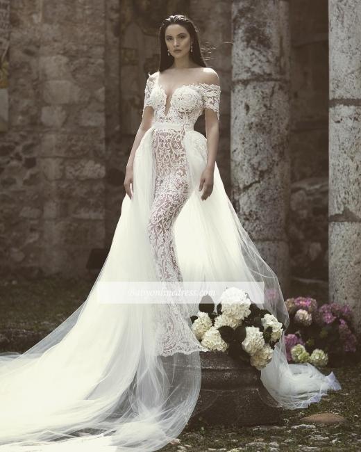 Robe de mariée sirène traîne détachable | Robe de mariage trompette dentelle chic