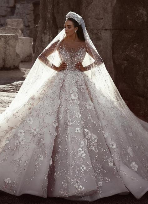 Robe de mariée princesse avec fleurs longue élégante luxueuse | robe de mariage élégante de luxe WD0911