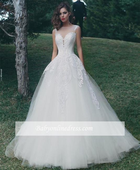 Forme Princesse Col U profond Tulle Robes de mariée 2020 avec Appliques