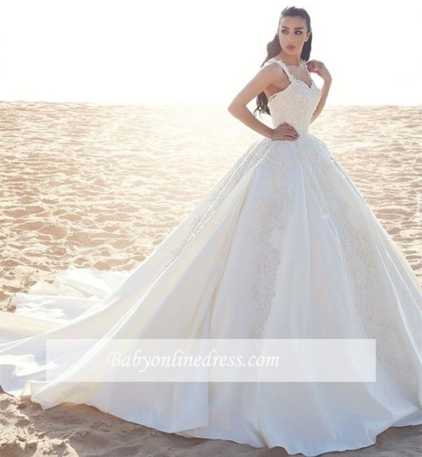 Forme Marquise Traîne mi-longue Avec bretelles Satin Robes de mariée 2020 avec Appliques
