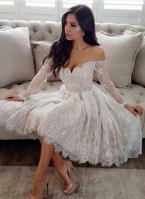 Robe de cocktail mini dentelle épaules nues sexy | Robe de soirée courte manches longues