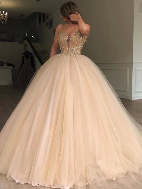 Robe de bal princesse bretelles fines | Robe de soirée princesse chic avec perles