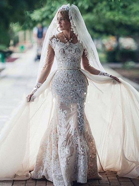 Robe de mariée sirène longue dentelle manches longues | Robe de mariage trompette dentelle