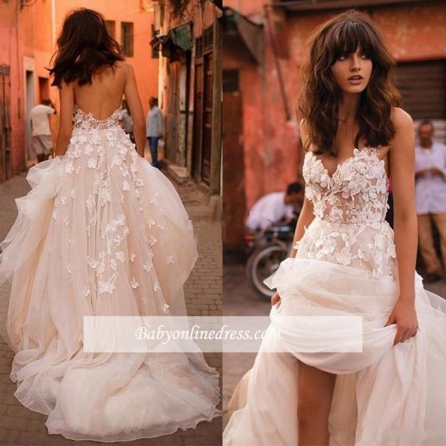 Robe Féerique de Fleurs Forme Princesse Col en V Tulle Traîne Longue Robes de Mariée dentelle avec Appliques