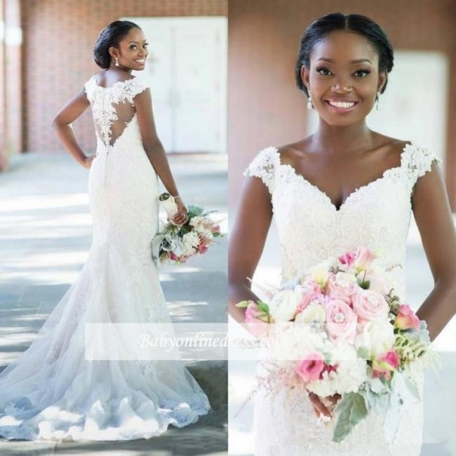 Robe de mariée sirène dentelle élégante | Robe de mariage trompette col en V