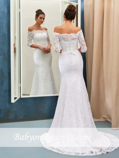 Forme Fourreau alayage/Pinceau train Epaules nues Robes de mariée 2020 avec Dentelle