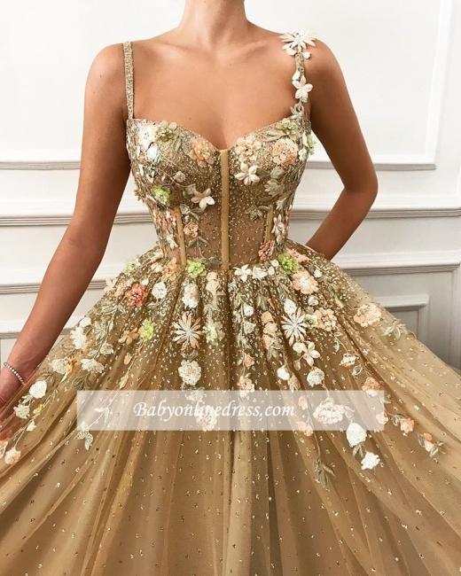 Robe de bal princesse florale chic | Robe de soirée princesse bretelles fines