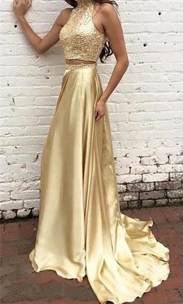 Robe de soirée d'or robe biling deux pièces tendance pailleté en haute longueur sol