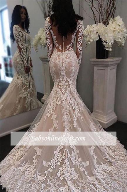 Robe de mariée sirène dentelle luxueuse   Robe de mariage trompette manches longues