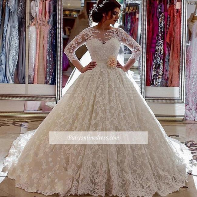 Robe de mariée princesse dentelle luxueuse | Robe de mariage princesse manches longues