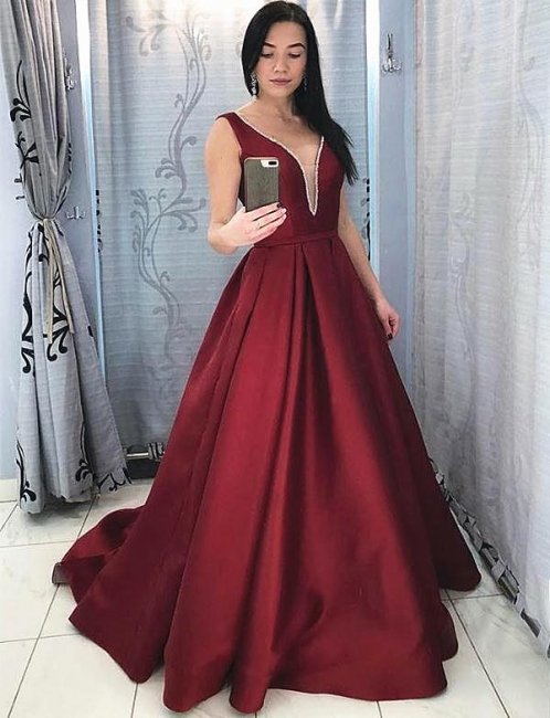 Robe de soirée |Robe de soirée forme Princesse Longueur mollet Satin col V
