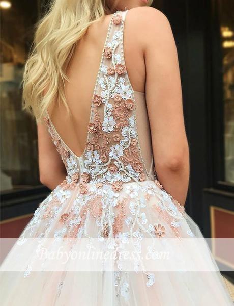 Robe de bal princesse col en V | Robe de soirée princesse avec appliques