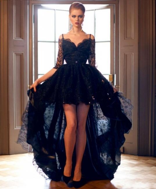 Forme Princesse Bretelles spaghetti Dentelle Traîne asymétrique Robes de soirée avec Ruches